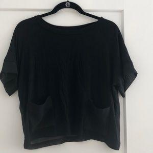 Kensie Black Short Sleeve Crop Top | Sm